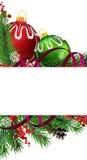 Christmas tree decorations with purple ribbon Royalty Free Stock Photo