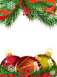 Christmas tree decorations with red ribbon. Christmas baubles with ribbon and fir tree branches on white background Royalty Free Stock Photo
