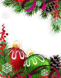 Christmas tree decorations with red ribbon Stock Images
