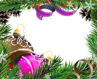 Christmas tree decorations with  ribbons Royalty Free Stock Photo