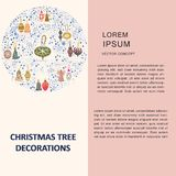 Christmas tree decorations in round shape and text. Flat style illustration. Greeting card, poster, design element vector illustration