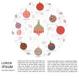 Christmas tree decorations in round shape with text on white background. Flat style illustration. Greeting card, poster, design element royalty free illustration
