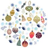 Christmas tree decorations in round shape on white background. Flat style illustration. Greeting card, poster, design element stock illustration