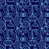 Christmas tree decorations seamless pattern blue Stock Images
