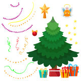 Christmas tree and decorations set Stock Images