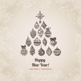 Christmas tree decorations set handdrawn style postcard template Stock Image