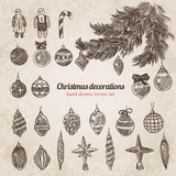 Christmas tree decorations set handdrawn style template. Christmas tree decorations set New Year handdrawn engraving style template. Pen pencil crosshatch Royalty Free Stock Photos