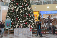 Christmas tree with decorations at shopping center Olympia Royalty Free Stock Photos