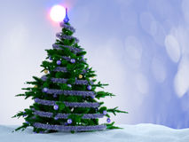 Christmas tree with decorations and snow on decorative background. Stock Photography