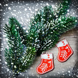 Christmas tree decorations and snow Stock Image