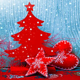 Christmas tree and decorations and snow Stock Images