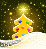 Christmas Tree with decorations, snowflakes Stock Photography