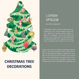 Christmas tree decorations with space for text. Flat style illustration. Greeting card, poster, design element stock illustration