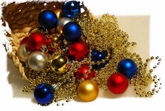 Christmas-tree decorations spheres from the basket Stock Photography
