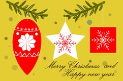 Christmas tree decorations on the sprigs, design style, greeting card with a merry Christmas and a happy new year. Christmas discounts, olive background Royalty Free Stock Images
