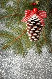 Christmas tree decorations on a spruce branch Royalty Free Stock Photography