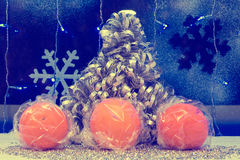 Christmas tree decorations and tangerine. wallpaper, vintage, re Royalty Free Stock Image