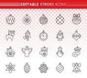 Xmas Tree Decor simple black line icons vector set stock illustration