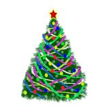 Christmas tree with decorations and tinsel on white background.  royalty free illustration