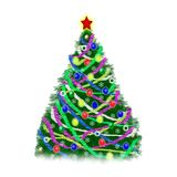 Christmas tree with decorations and tinsel on white background.  stock illustration