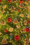 Christmas tree decorations. Toys and balls on christmas fir Royalty Free Stock Photography
