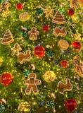 Christmas tree decorations. Toys and balls on christmas fir Stock Photo