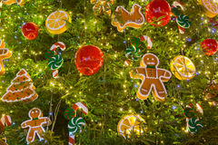 Christmas tree decorations. Toys and balls on christmas fir Stock Photos