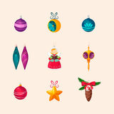 Christmas Tree Decorations. Vector Icon Set Royalty Free Stock Photography