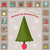 Christmas Tree and decorations. Royalty Free Stock Photography