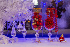 Christmas tree and decorations. wallpaper. Royalty Free Stock Photos