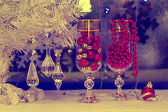 Christmas tree and decorations. wallpaper, vintage, retro Royalty Free Stock Photography