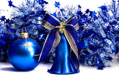 Christmas-tree decorations on white background Royalty Free Stock Photos