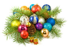 Christmas tree decorations on a white background closeup Royalty Free Stock Photos