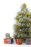 Christmas tree with decorations on white background Stock Photography