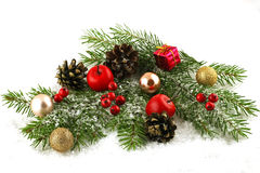 Christmas-tree decorations on a white background Royalty Free Stock Photo