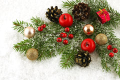 Christmas-tree decorations on a white background Stock Photography