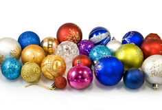 Christmas tree decorations on a white background Royalty Free Stock Image