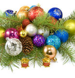 Christmas tree decorations on a white background Royalty Free Stock Photo