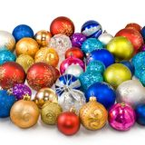 Christmas tree decorations on a white background Stock Photo