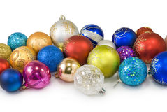 Christmas tree decorations on a white background Royalty Free Stock Images