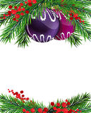 Christmas tree decorations with winterberry holly. Christmas baubles with fir tree branches and winterberry holly on white background Stock Photo