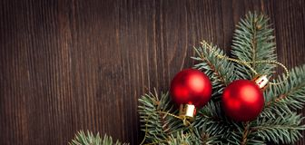 Christmas Tree and decorations on wooden background. Space for lettering stock photo