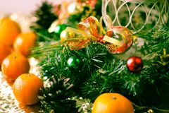 Christmas tree and decorations on wooden background. royalty free stock photo