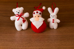 Christmas tree decorations on wooden background Stock Images