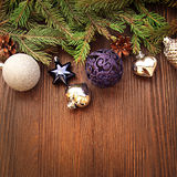 Christmas Tree and decorations on wooden background Royalty Free Stock Photos