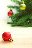 Christmas Tree and decorations on wooden background Stock Photography
