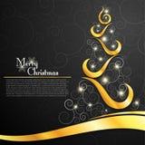 Christmas tree on decorative black background Royalty Free Stock Image