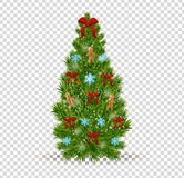 Christmas tree with decorative bow, snowflakes, toys, decorations, festive garlands. Merry Christmas. Beautiful realistic Christmas tree on transparent Royalty Free Stock Images