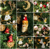 Christmas tree decorative details collage. Stock Photos