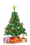 Christmas tree with decorative gifts Stock Image